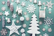 Flat Lay With Wooden Christmas Decoration Like Snowflakes, Lights