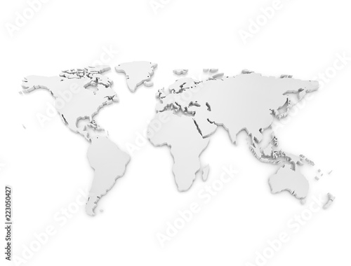 World Map 3D metallic on white background