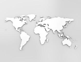 White world map 3D