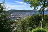 Stadt Bergen in Norwegen, Aussicht vom Berg Floyen