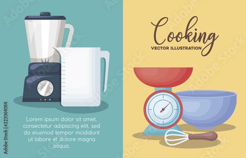 Wall mural cooking utensils design