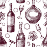 Decorative seamless pattern with wine bottles, wineglasses. Ink hand drawn Vector illustration. Composition of drink elements for menu design. - 223069060