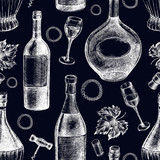 Decorative seamless pattern with wine bottles, wineglasses. Ink hand drawn Vector illustration. Composition of drink elements for menu design. - 223069213