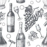 Decorative seamless pattern with wine bottles, wineglasses, a bunch of grapes. Ink hand drawn Vector illustration. Composition of drink elements for menu design. - 223069279