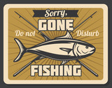 Fish and crossed fishing rods retro poster - 223087249