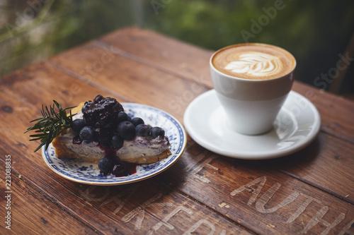 Fototapeta Coffee cup cheesecake