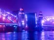 Leinwandbild Motiv Saint Petersburg. Bolsheokhtinsky Bridge. Fog. Petersburg in the fog. Bridges of St. Petersburg. Neva River. Night fog in St. Petersburg. Russia. The Bridge of Peter the Great.