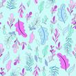 Seamless pattern with leaf. Botanical floral backdrop. - 223093206
