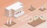 Museum building and exhibition isometric vector illustration. Isolated gallery elements with history pictures and exhibits of warrior armor or antique culture architecture on pedestal stands - 223106844