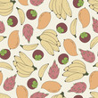 Seamless abstract pattern with hand-drawn tropical fruits. Bananas, mango, dragon fruits, mangosteen - 223109637