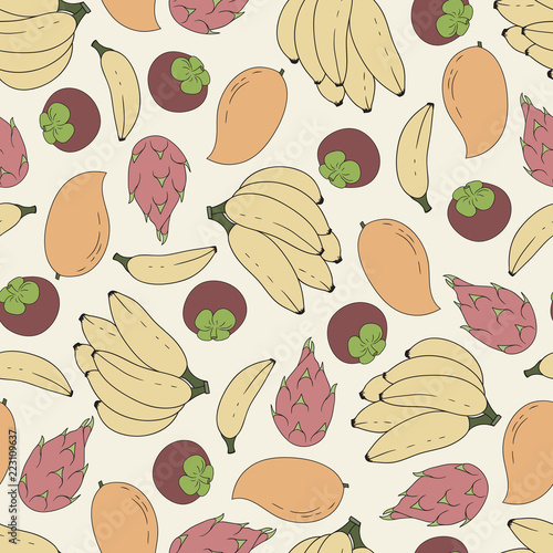 Seamless abstract pattern with hand-drawn tropical fruits. Bananas, mango, dragon fruits, mangosteen - 223109637