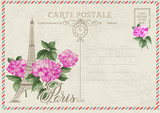 Old blank postcard with post stamps and eiffel tower with summer flowers of hydrangea. Vector illustrtion. - 223110883