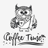 Hand drawn owl with cup of coffee. - 223118458