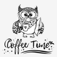 Hand Drawn Owl  Cup Of Coffee Sticker