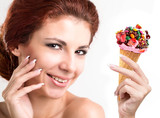 portrait smile woman witch fruit ice cream  witch fresh berries