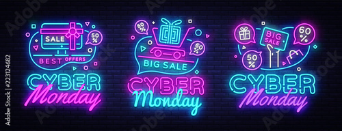 Big set Cyber Monday, Vector illustration discount sale concept in neon style, online shopping and marketing concept. Neon Light signboard, bright banner, illuminated advertisement