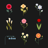 geometric flower icon set. flat design style vector graphic illustration - 223128413