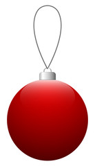 Red glass Christmas ball on the string. Vector EPS 10