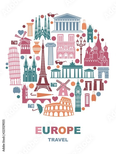 Collection of Europe detailed silhouettes. Set Travel Landmarks in the form of a circle. Vector illustration © Katsiaryna