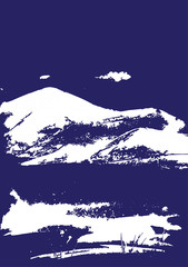 White mountain range with texture on blue. Landscape sketch. Hiking, travel and camping concept. For tourism organisations, outdoor events and mountains leisure. Engraving style. Vector illustration © sshisshka