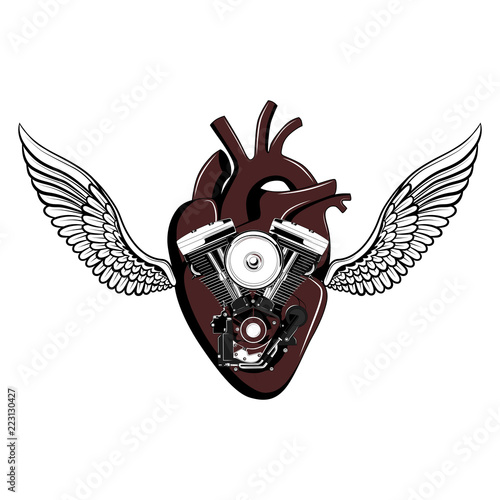 Motorcycle engine with a heart and wings.