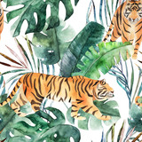 Watercolor seamless pattern. Tropical jungle leaves and tiger. Hand drawn illustration - 223130614
