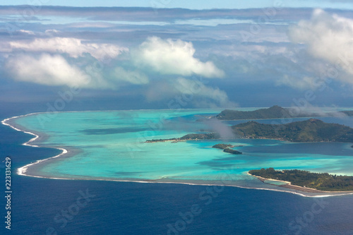 bora bora french polynesia aerial airplane view - 223131629