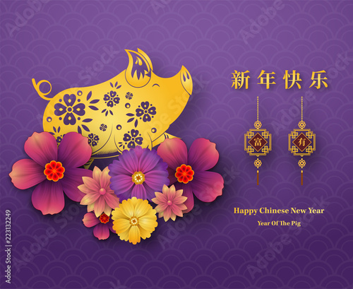 Happy Chinese New Year 2019 year of the pig paper cut style. Chinese characters mean Happy New Year, wealthy, Zodiac sign for greetings card, flyers, invitation, posters, brochure, banners, calendar. - 223132249