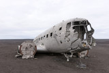 Plane wreck in Iceland at a cloudy day with no people - 223132849