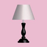 Wooden table lamp on pink background. 3D effect vector - 223133638