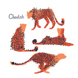 Graphic collection of cheetahs drawn with rough brush - 223134474