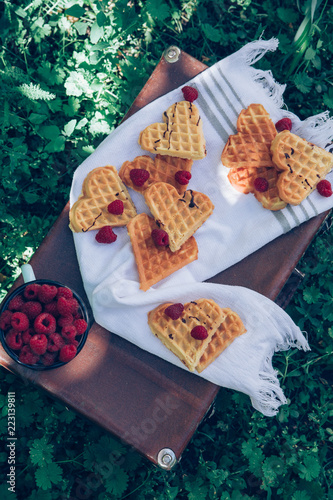 Poster Sweet heart shaped waffles with raspberries for dessert outdoor picnic in the garden.
