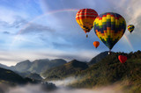 Hot air balloons with landscape mountain. - 223141049