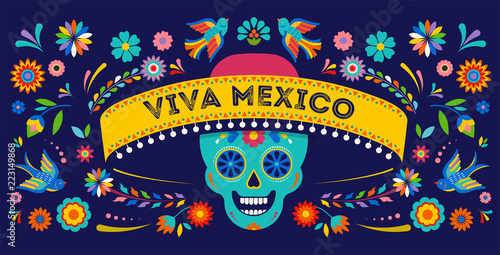 Day of the dead, Dia de los muertos background, banner and greeting card concept with sugar skull. - 223149868