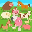 farm animals on the meadow cartoon illustration