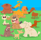 dogs or puppies cartoon characters Illustration