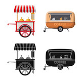 Vector design of market and exterior symbol. Collection of market and food vector icon for stock. - 223153006