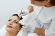 Face Skin Cleansing. Woman On Facial Mechanical Cleaning