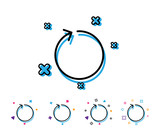 Loop arrow line icon. Refresh Arrowhead symbol. Navigation pointer sign. Line icon with geometric elements. Bright colourful design. Vector - 223157813