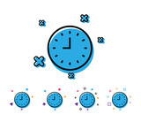 Clock line icon. Time sign. Office Watch or Timer symbol. Line icon with geometric elements. Bright colourful design. Vector - 223161809