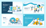 Set of web page design templates for business plan, analysis and statistics, team building, consulting. Modern vector illustration concepts for website and mobile website development.  - 223166437