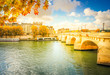 Pont Neuf and river Seine waters, blue fall sky with clouds, Paris, France