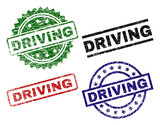 DRIVING seal prints with corroded texture. Black, green,red,blue vector rubber prints of DRIVING label with corroded texture. Rubber seals with circle, rectangle, medal shapes. - 223167862