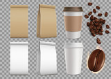 Fototapety Set of blank package with coffee beans and paper mugs. Isolated
