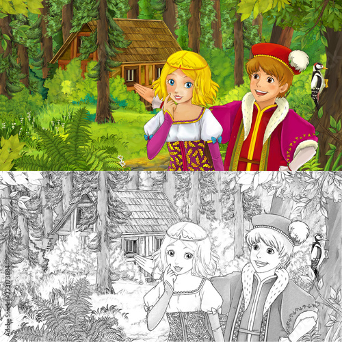 cartoon scene with princess or queen and prince or king in the forest near hidden wooden house - with artistic coloring page - illustration for children - 223173884