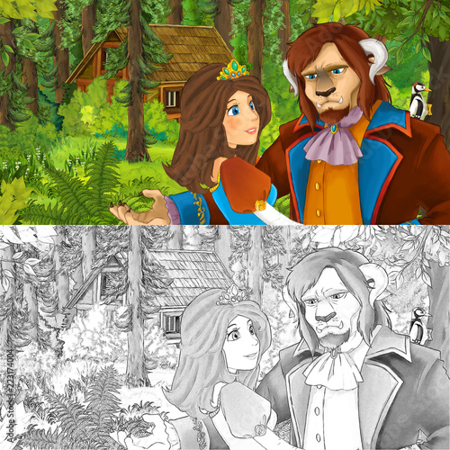 cartoon scene with princess or queen and prince or king in the forest near hidden wooden house - with artistic coloring page - illustration for children - 223174004