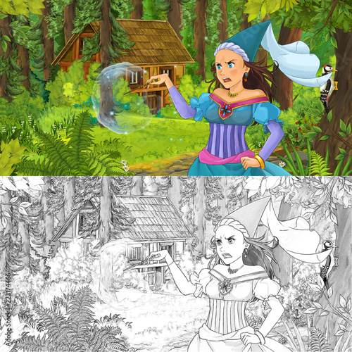 cartoon scene with woman princess in the forest near hidden wooden house - with artistic coloring page - illustration for children - 223174466
