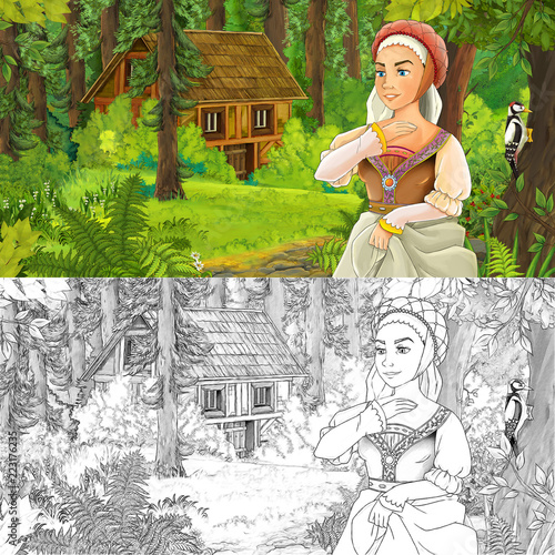 cartoon scene with woman princess in the forest near hidden wooden house - with artistic coloring page - illustration for children - 223176235