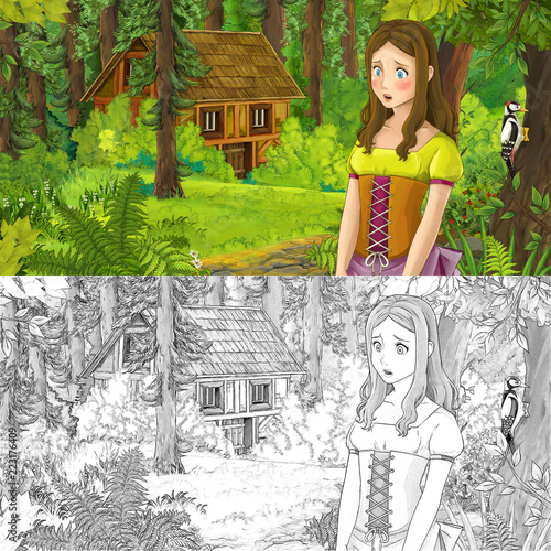 cartoon scene with woman princess in the forest near hidden wooden house - with artistic coloring page - illustration for children - 223176409