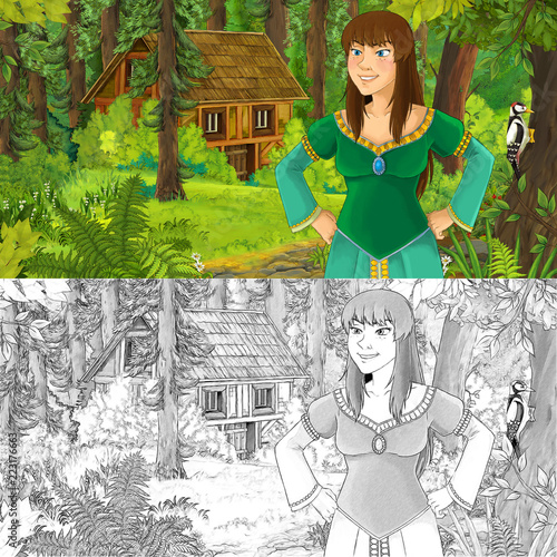 cartoon scene with woman princess in the forest near hidden wooden house - with artistic coloring page - illustration for children - 223176663